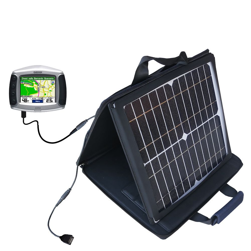 SunVolt Solar Charger compatible with the Garmin Zumo 450 and one other device - charge from sun at wall outlet-like speed