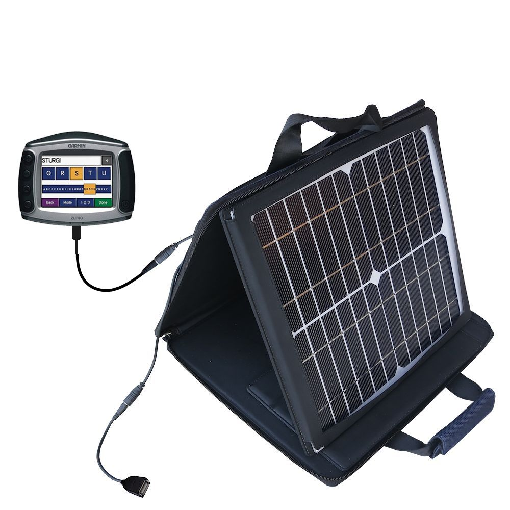 SunVolt Solar Charger compatible with the Garmin Zumo 550 and one other device - charge from sun at wall outlet-like speed