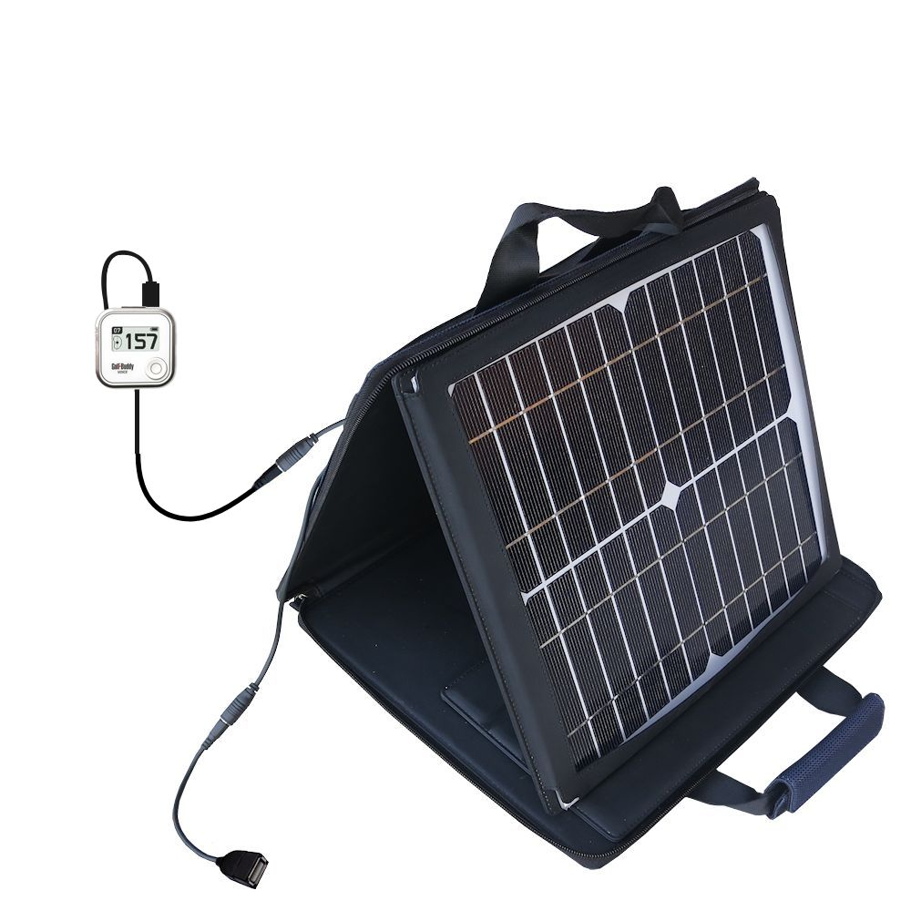 SunVolt Solar Charger compatible with the Golf Buddy Voice GPS Rangefinder and one other device - charge from sun at wall outlet-like speed