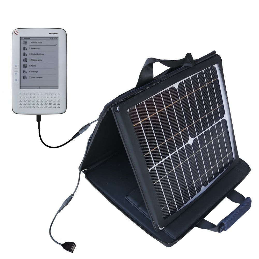 SunVolt Solar Charger compatible with the Hanvon WISEreader B630 and one other device - charge from sun at wall outlet-like speed