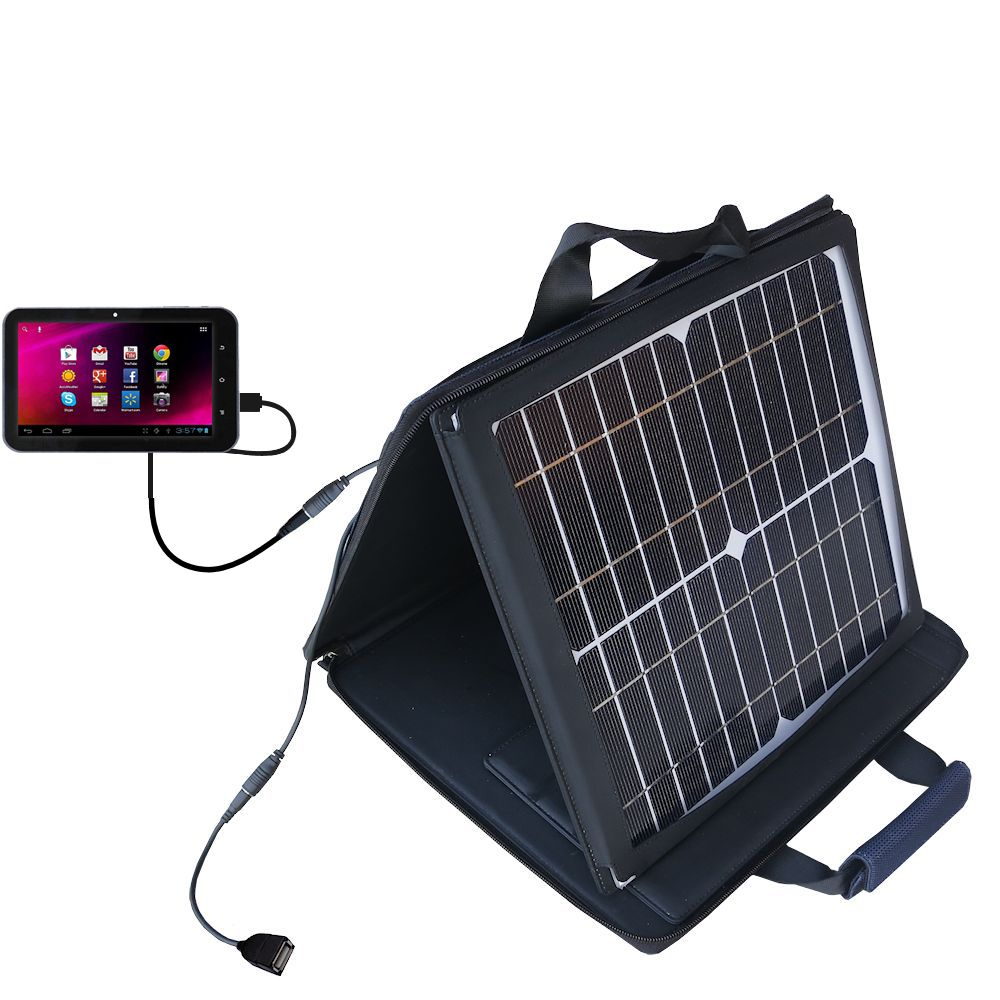 SunVolt Solar Charger compatible with the HKC 7 Tablet P771A and one other device - charge from sun at wall outlet-like speed