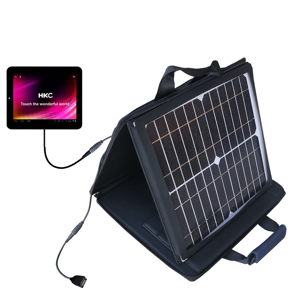 SunVolt Solar Charger compatible with the HKC P886A BK BBL APK Tablet and one other device - charge from sun at wall outlet-like speed