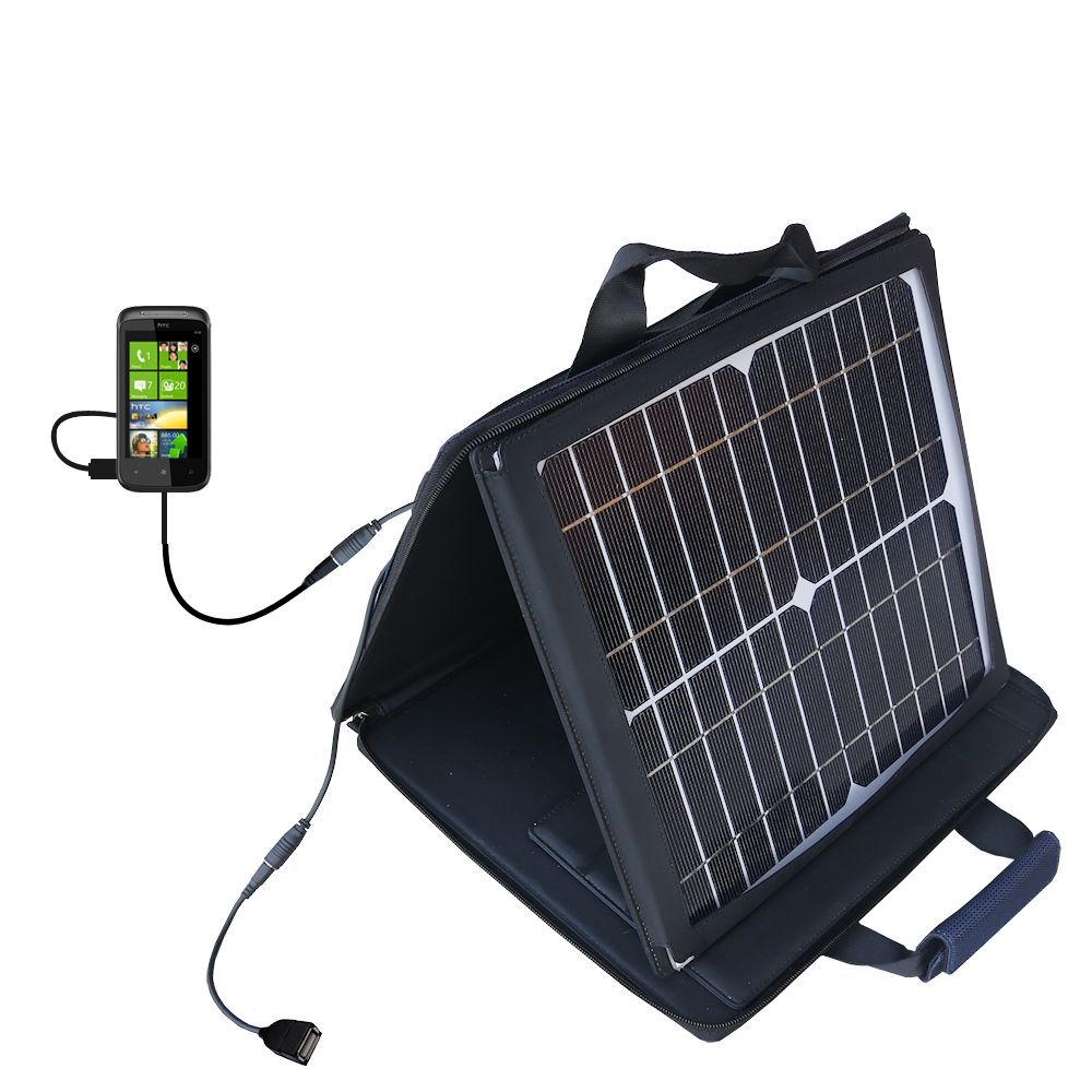 SunVolt Solar Charger compatible with the HTC 7 Trophy and one other device - charge from sun at wall outlet-like speed
