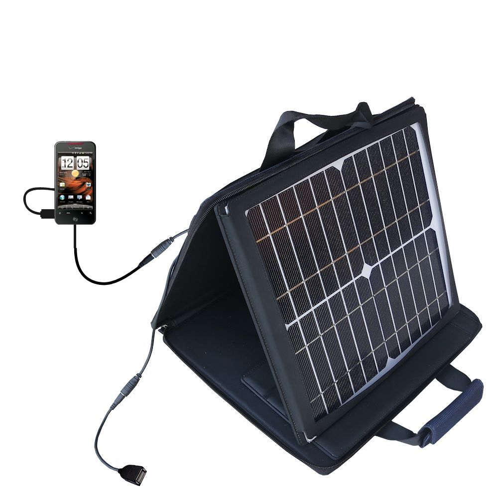 SunVolt Solar Charger compatible with the HTC Droid Thunderbolt and one other device - charge from sun at wall outlet-like speed
