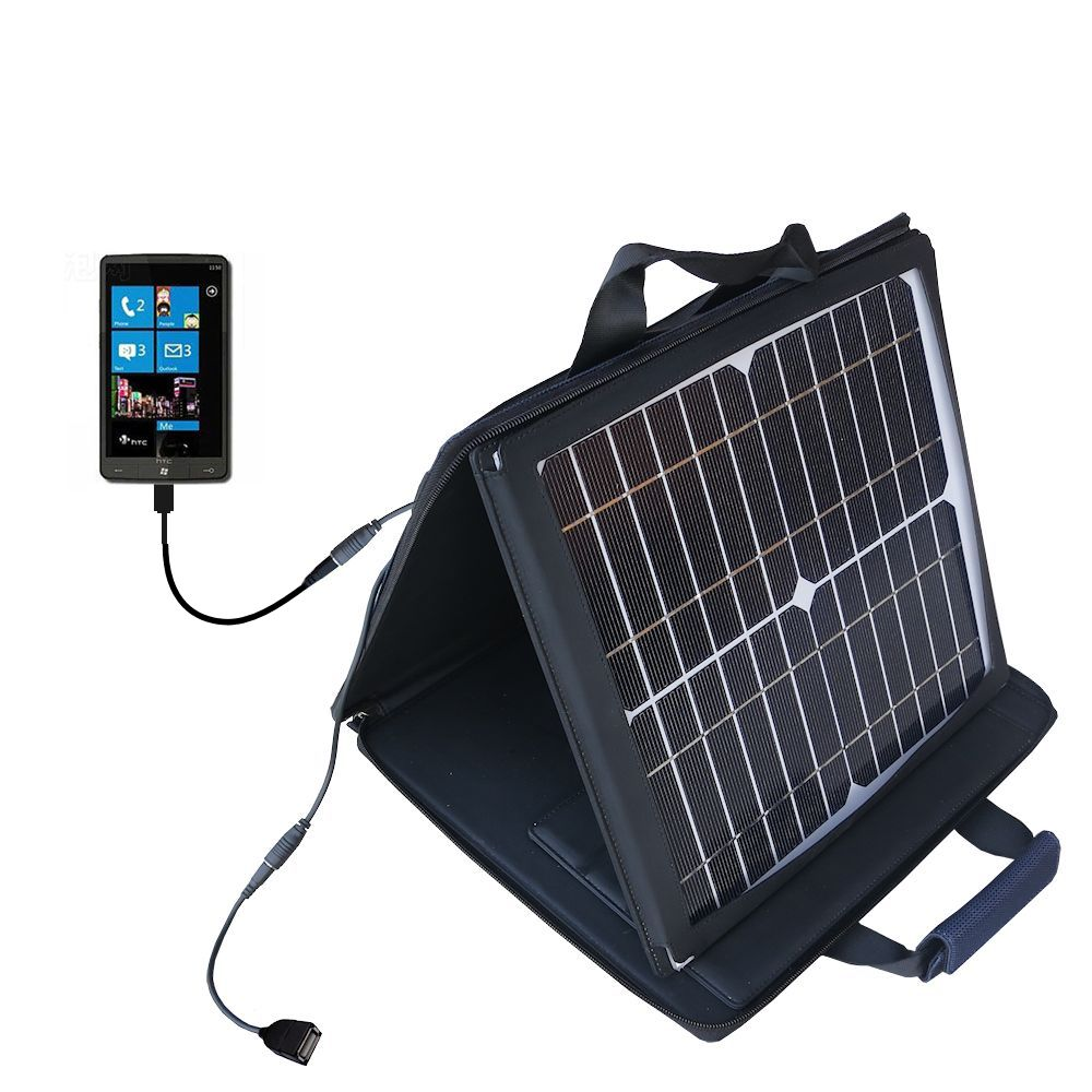 SunVolt Solar Charger compatible with the HTC HD3 and one other device - charge from sun at wall outlet-like speed