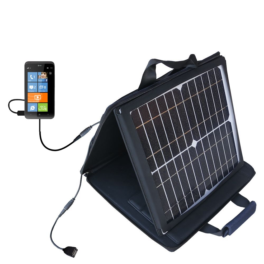 SunVolt Solar Charger compatible with the HTC Titan II and one other device - charge from sun at wall outlet-like speed