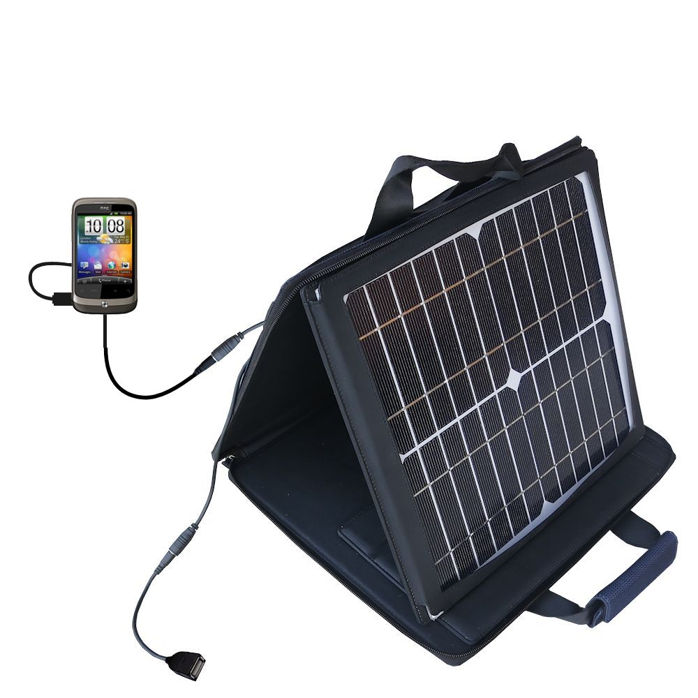 SunVolt Solar Charger compatible with the HTC Wildfire and one other device - charge from sun at wall outlet-like speed