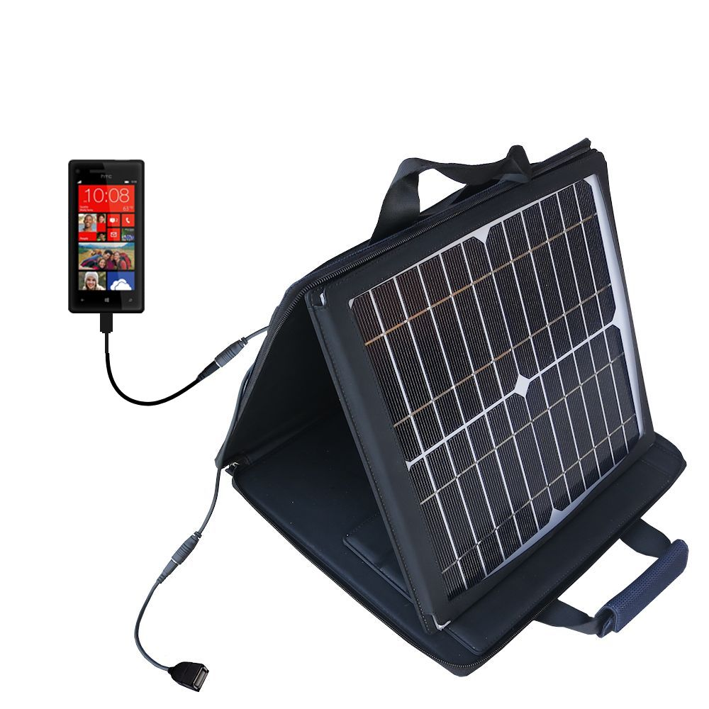 SunVolt Solar Charger compatible with the HTC Windows Phone 8x and one other device - charge from sun at wall outlet-like speed