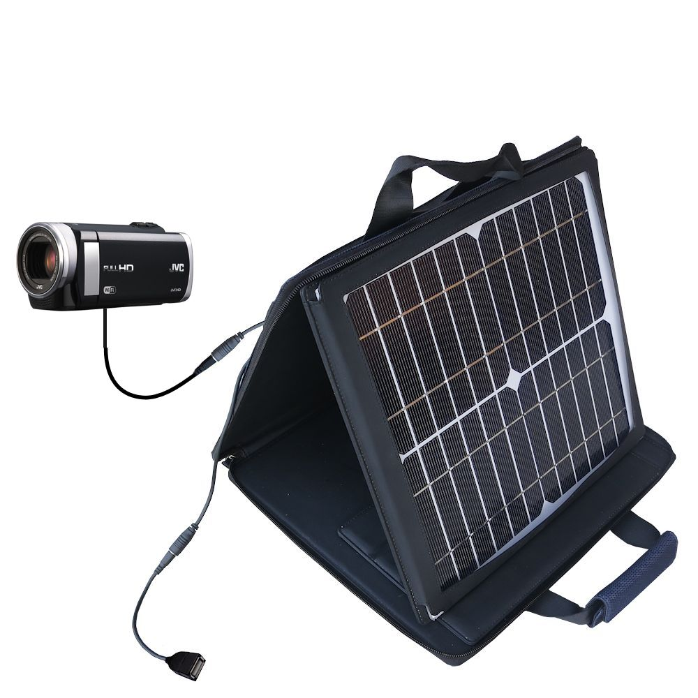 SunVolt Solar Charger compatible with the JVC Everio GZ-EX210 / GZ-EX250 and one other device - charge from sun at wall outlet-like speed