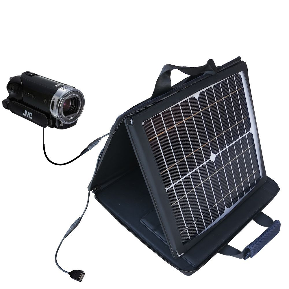 SunVolt Solar Charger compatible with the JVC Everio GZ-EX215 / GZ-EX250BUS and one other device - charge from sun at wall outlet-like speed