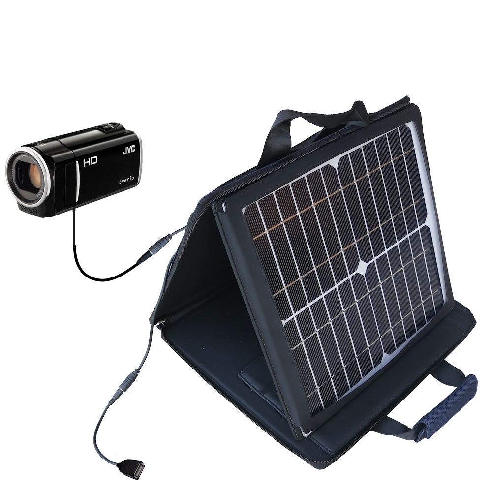 SunVolt Solar Charger compatible with the JVC Everio GZ-HM35 and one other device - charge from sun at wall outlet-like speed
