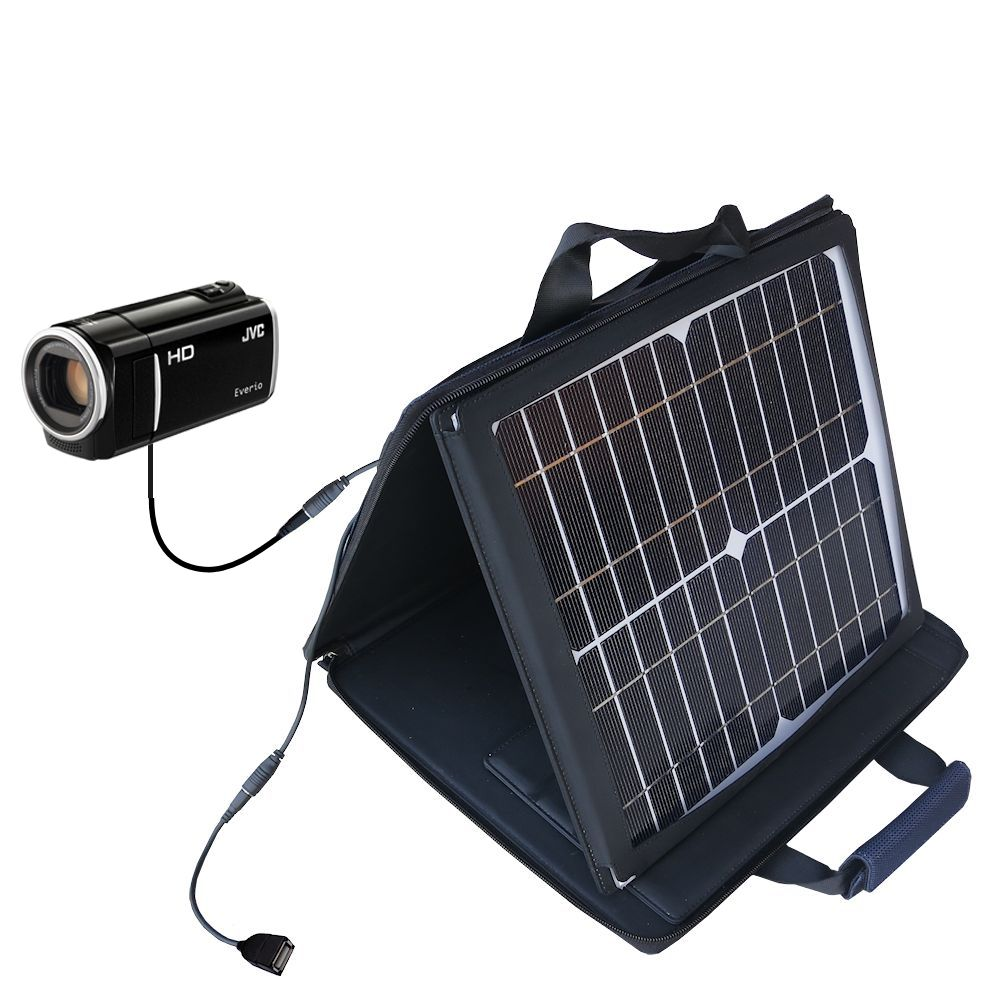 SunVolt Solar Charger compatible with the JVC Everio GZ-HM440 / GZ-HM450 / GZ-HM50 and one other device - charge from sun at wall outlet-like speed