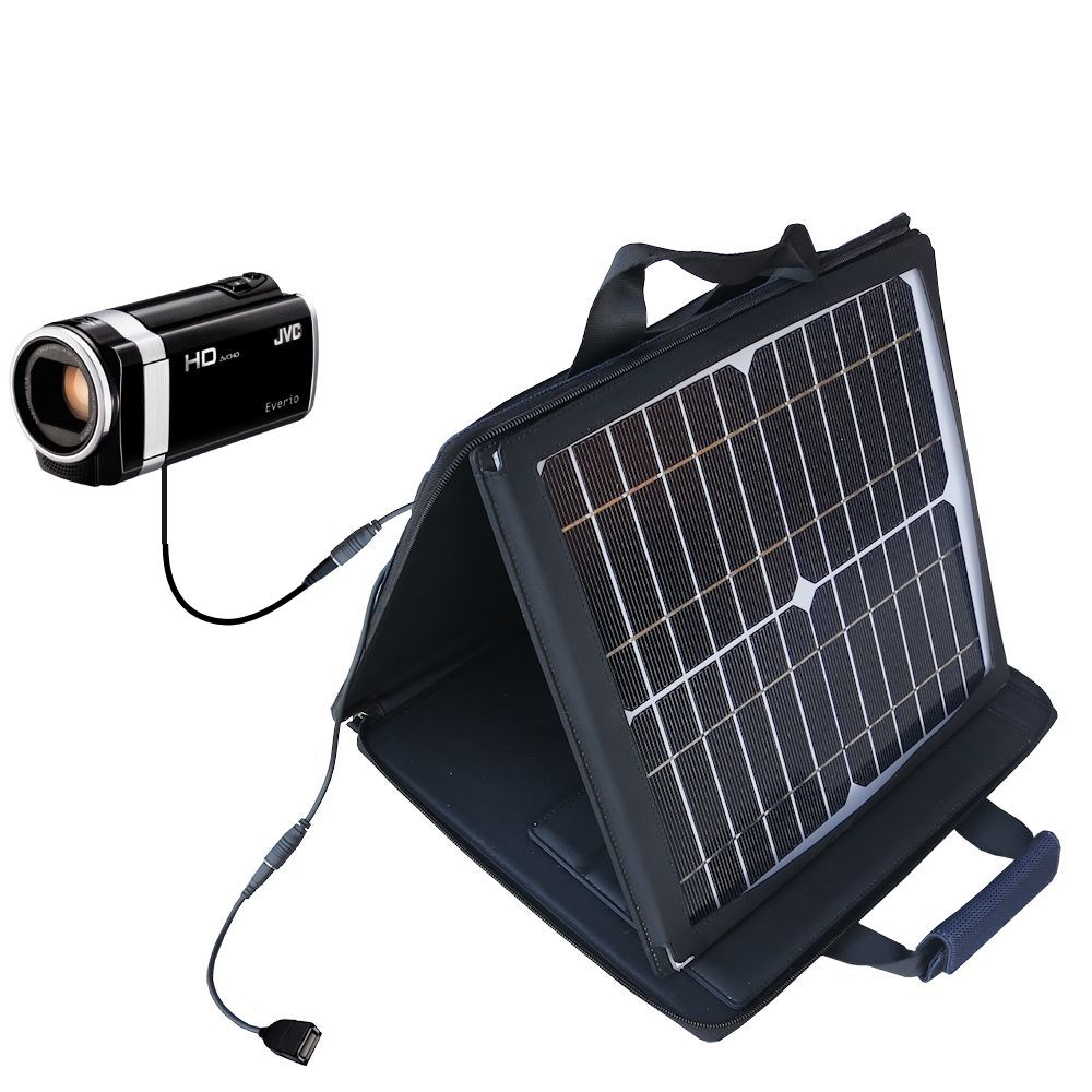 SunVolt Solar Charger compatible with the JVC Everio GZ-HM670 / HM690 and one other device - charge from sun at wall outlet-like speed