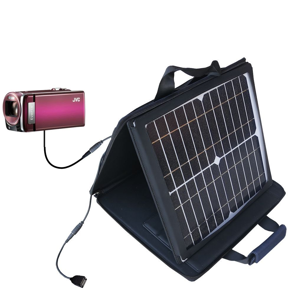 SunVolt Solar Charger compatible with the JVC Everio GZ-HM880 / HM890 and one other device - charge from sun at wall outlet-like speed