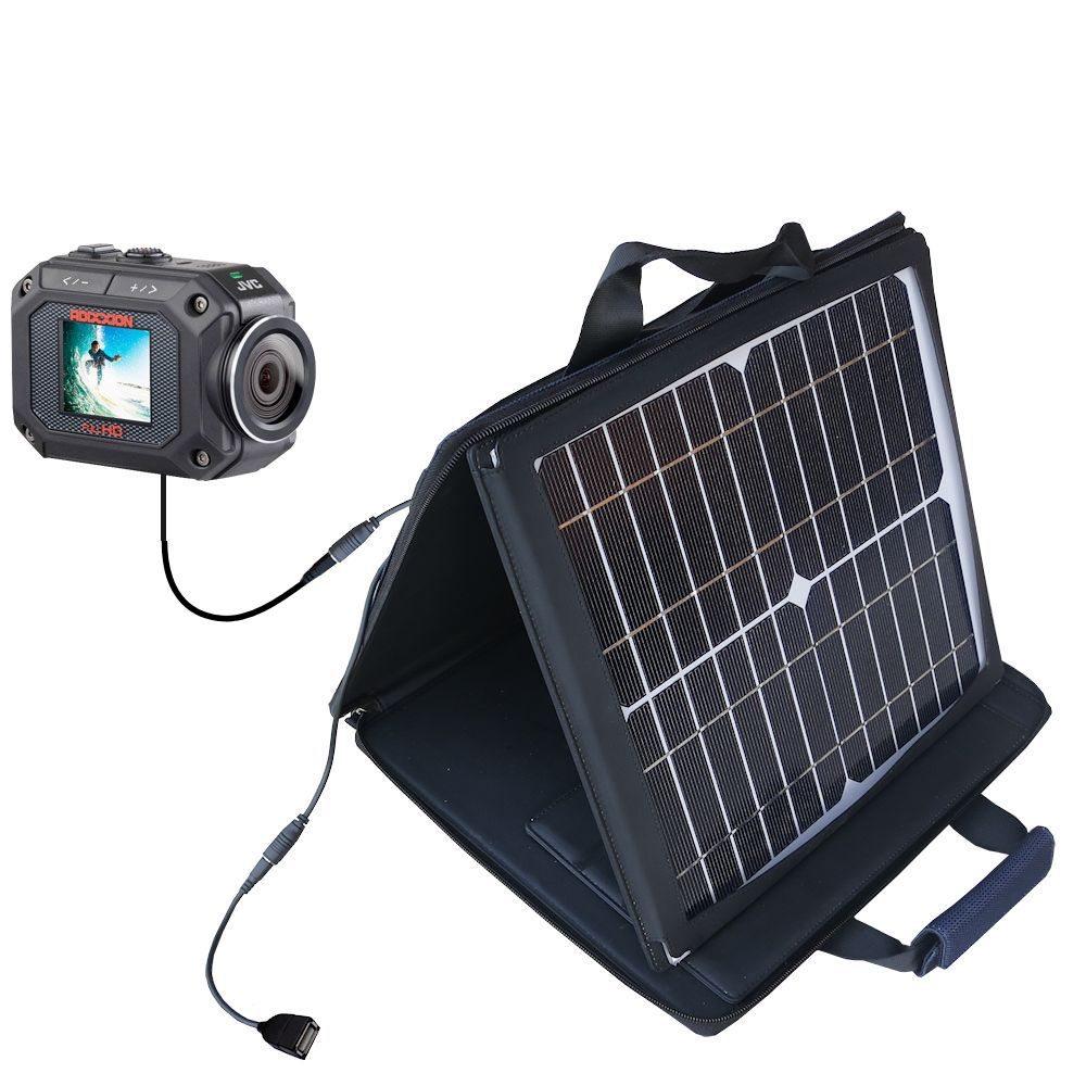 SunVolt Solar Charger compatible with the JVC GC-XA2 Action Camera and one other device - charge from sun at wall outlet-like speed