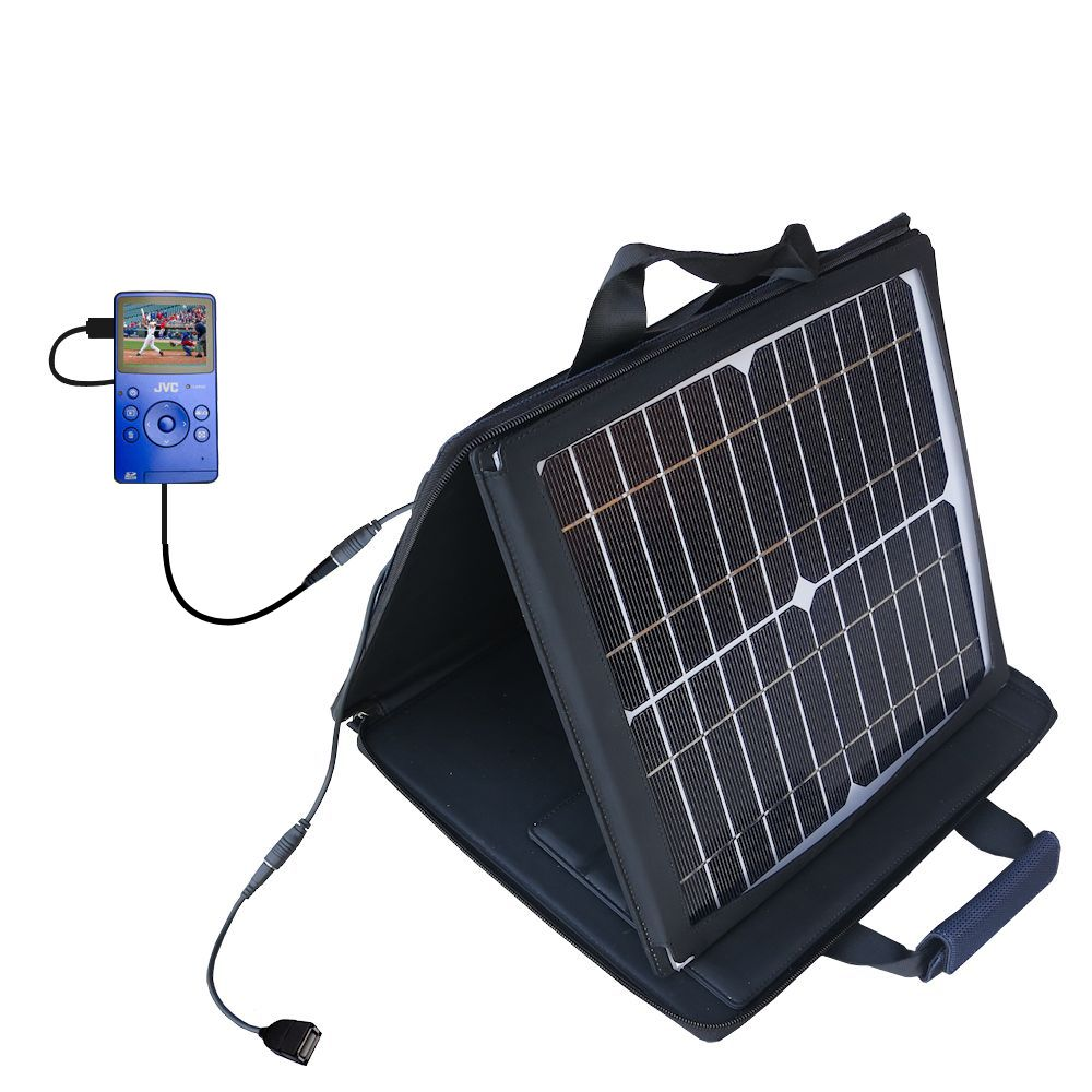 SunVolt Solar Charger compatible with the JVC Picsio GC-FM1 Pocket  Video Camera and one other device - charge from sun at wall outlet-like speed