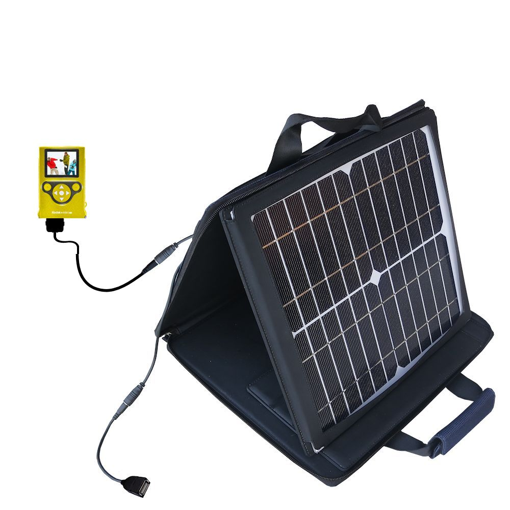 SunVolt Solar Charger compatible with the Kodak Mini Video Camera and one other device - charge from sun at wall outlet-like speed