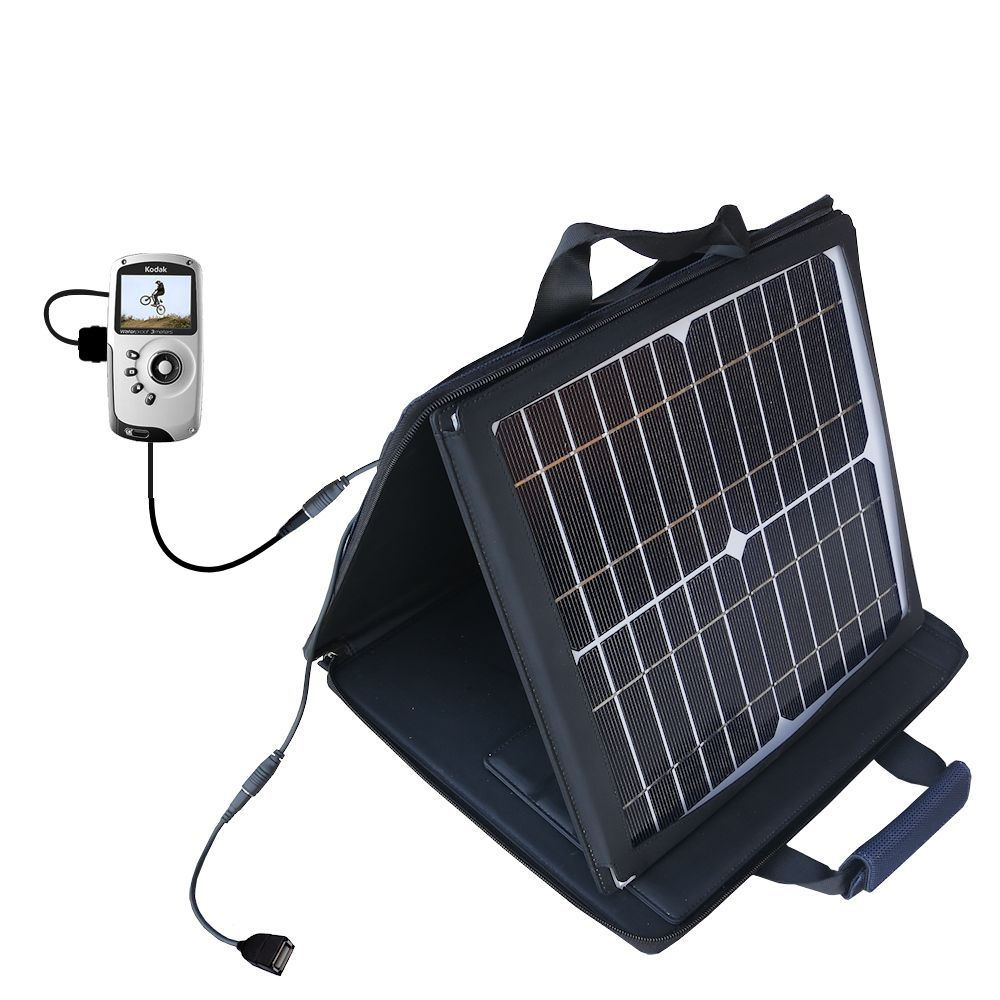 SunVolt Solar Charger compatible with the Kodak PlaySport Pocket Video Camera and one other device - charge from sun at wall outlet-like speed