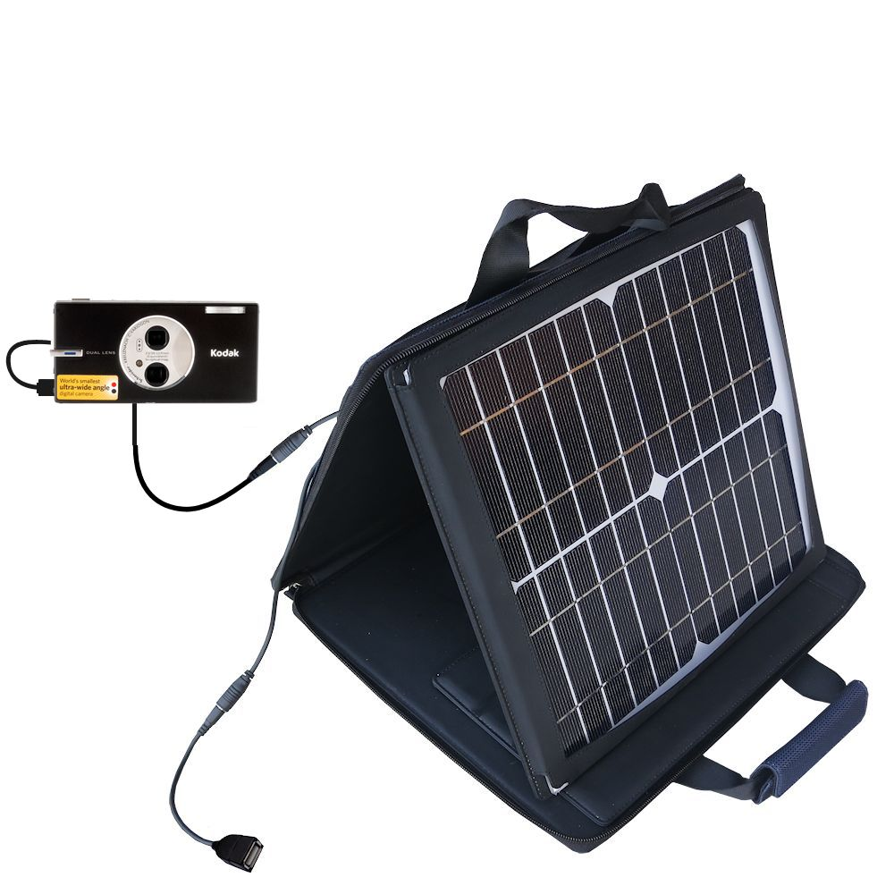 SunVolt Solar Charger compatible with the Kodak V570 and one other device - charge from sun at wall outlet-like speed