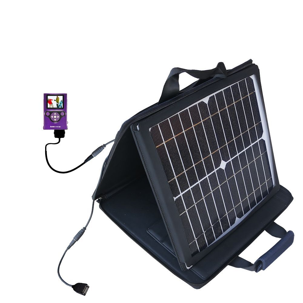 SunVolt Solar Charger compatible with the Kodak Zm2 Mini Video Camera and one other device - charge from sun at wall outlet-like speed