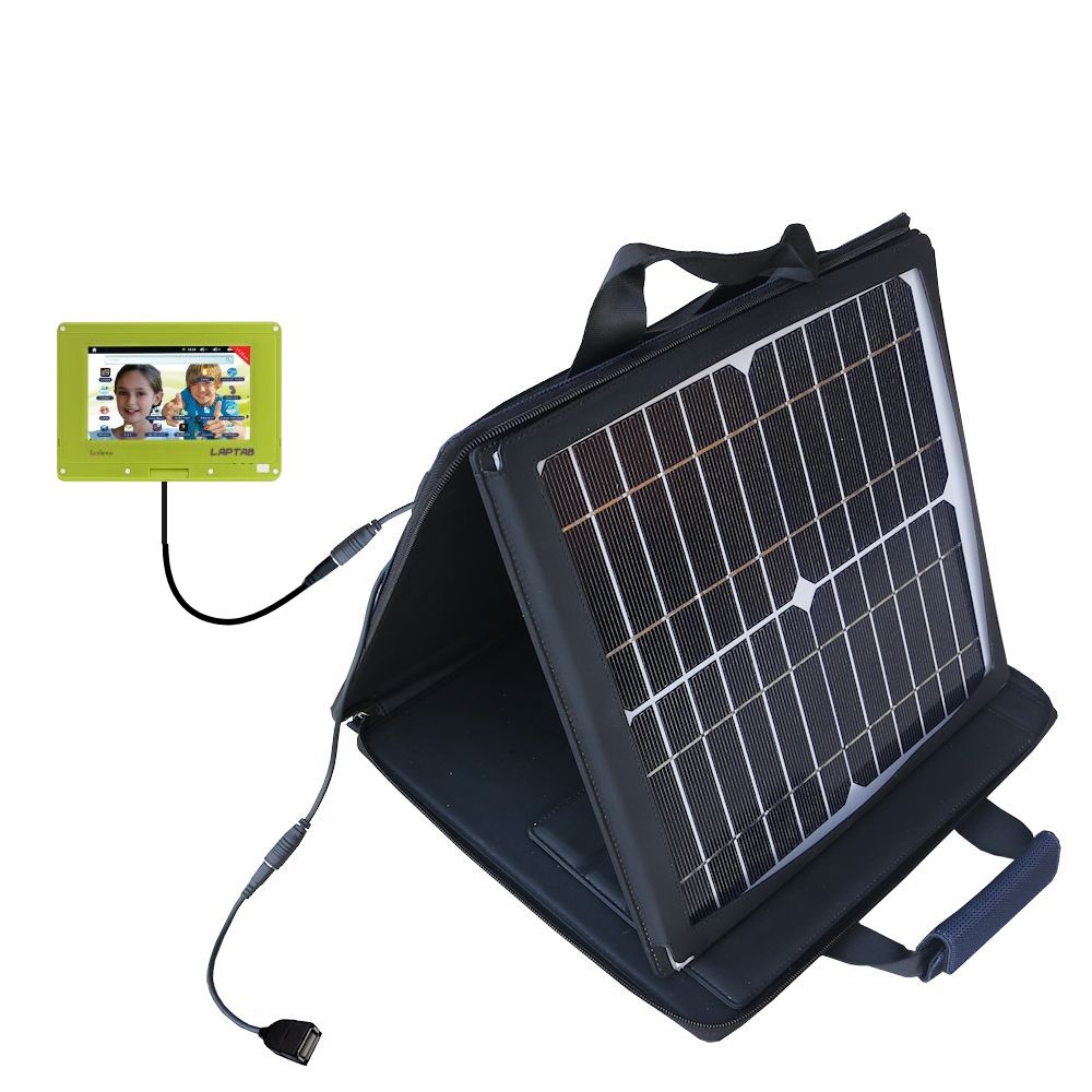 SunVolt Solar Charger compatible with the Lexibook Laptab MFC140EN and one other device - charge from sun at wall outlet-like speed