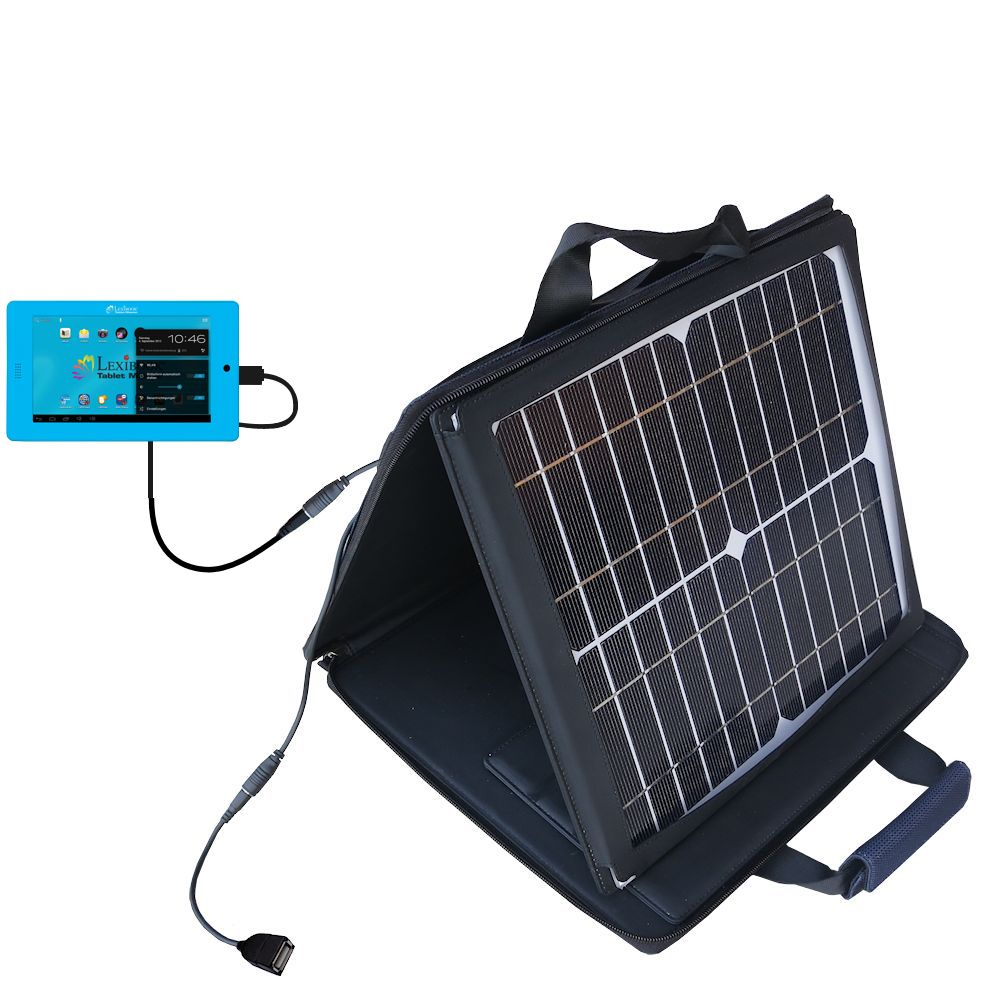 SunVolt Solar Charger compatible with the Lexibook Tablet Advance MFC180EN and one other device - charge from sun at wall outlet-like speed