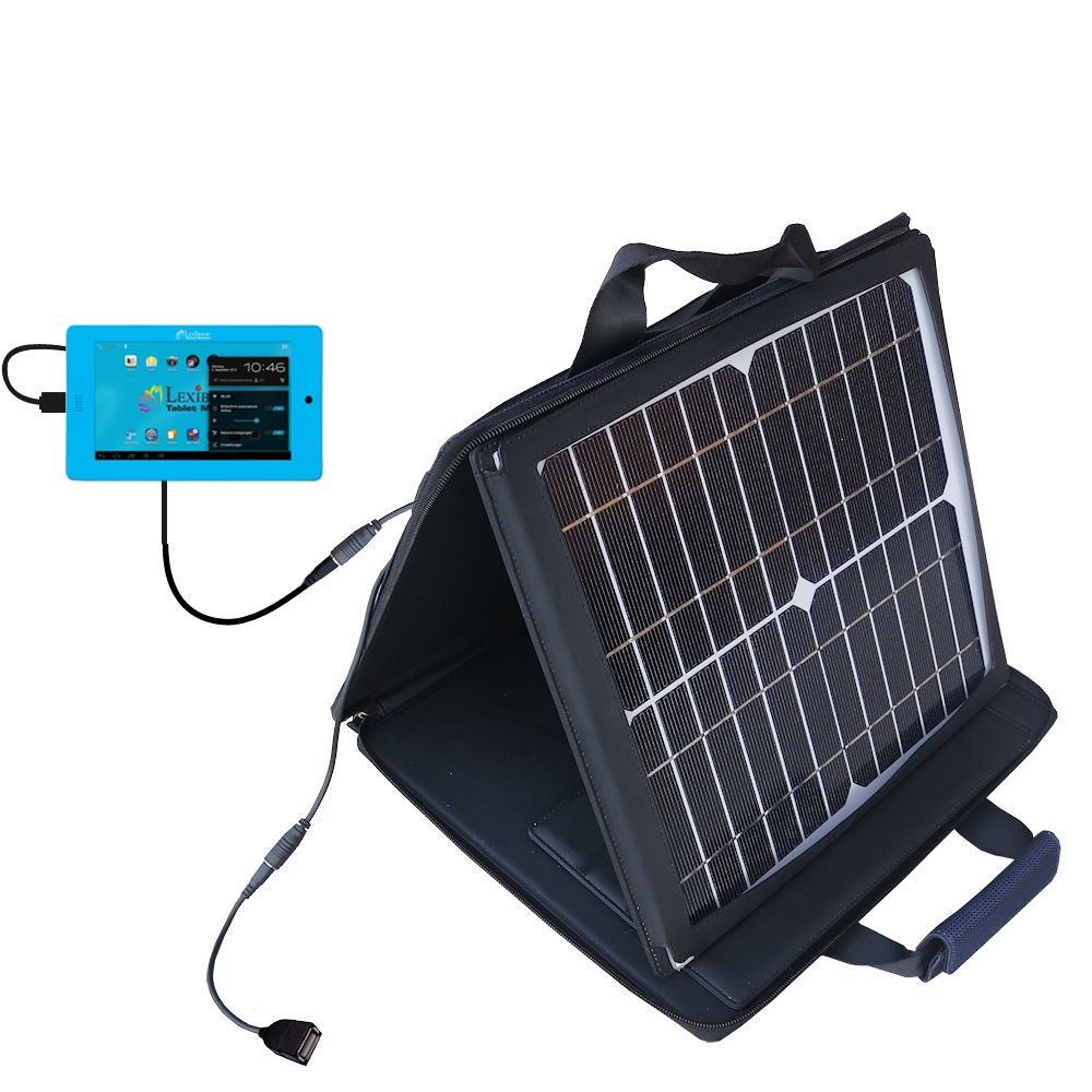 SunVolt Solar Charger compatible with the Lexibook Tablet Master MFC155EN and one other device - charge from sun at wall outlet-like speed