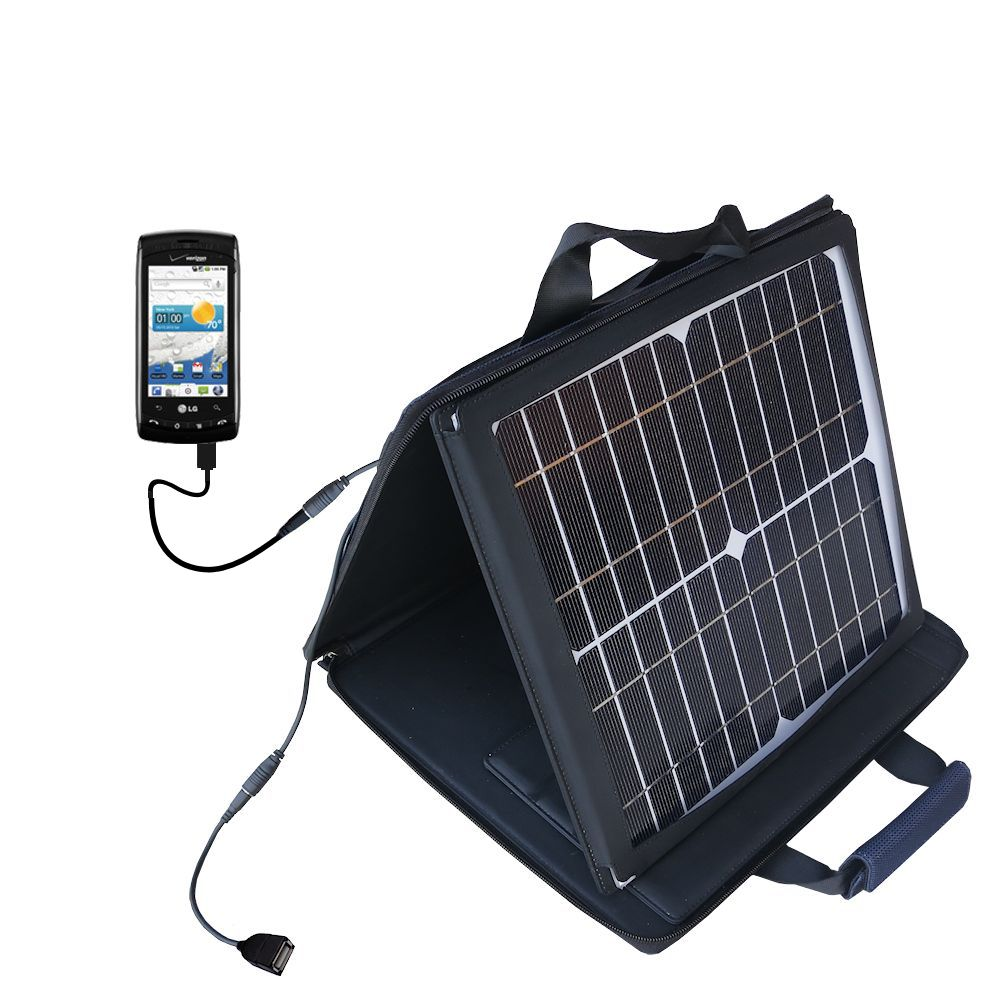 SunVolt Solar Charger compatible with the LG Ally  and one other device - charge from sun at wall outlet-like speed
