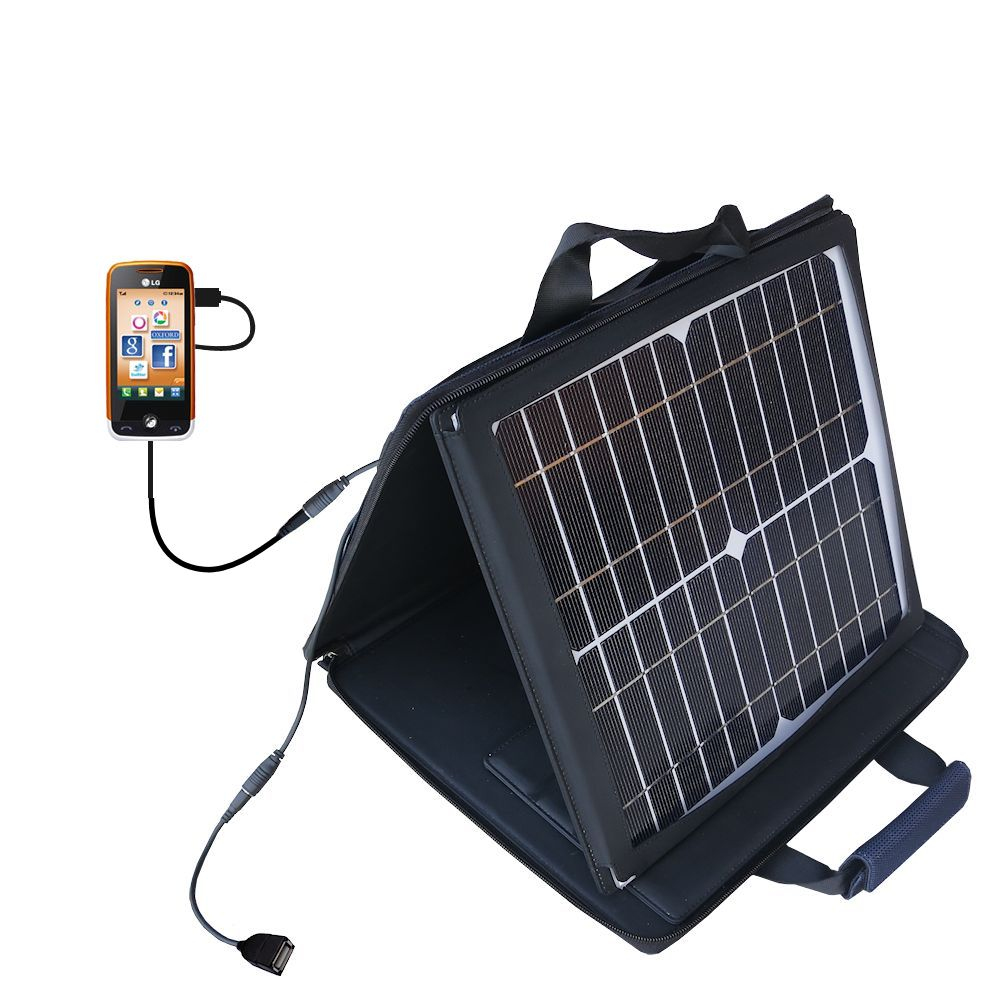SunVolt Solar Charger compatible with the LG Cookie Fresh (GS290) and one other device - charge from sun at wall outlet-like speed