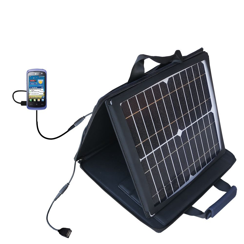 SunVolt Solar Charger compatible with the LG Cookie Music and one other device - charge from sun at wall outlet-like speed