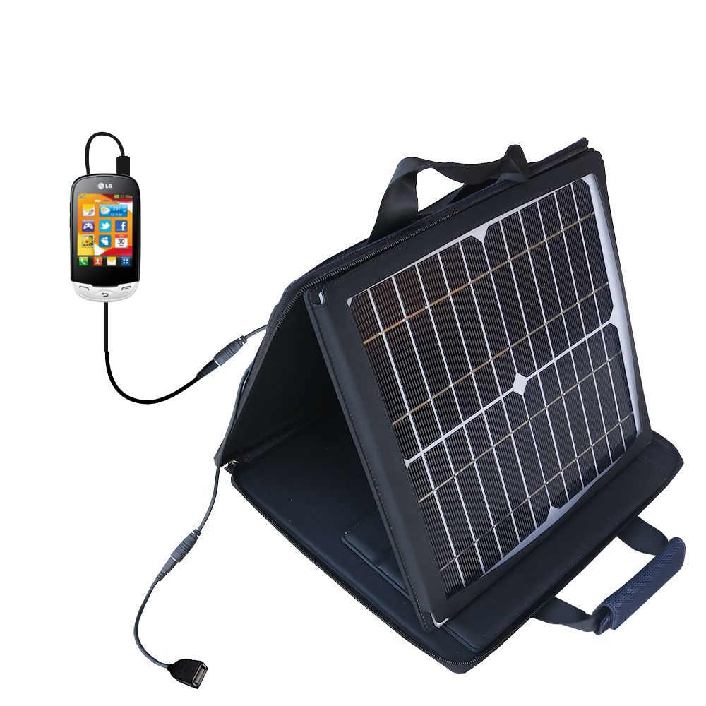SunVolt Solar Charger compatible with the LG EGO Wi-Fi and one other device - charge from sun at wall outlet-like speed