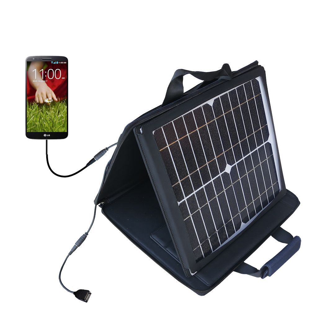 SunVolt Solar Charger compatible with the LG G Pad and one other device - charge from sun at wall outlet-like speed