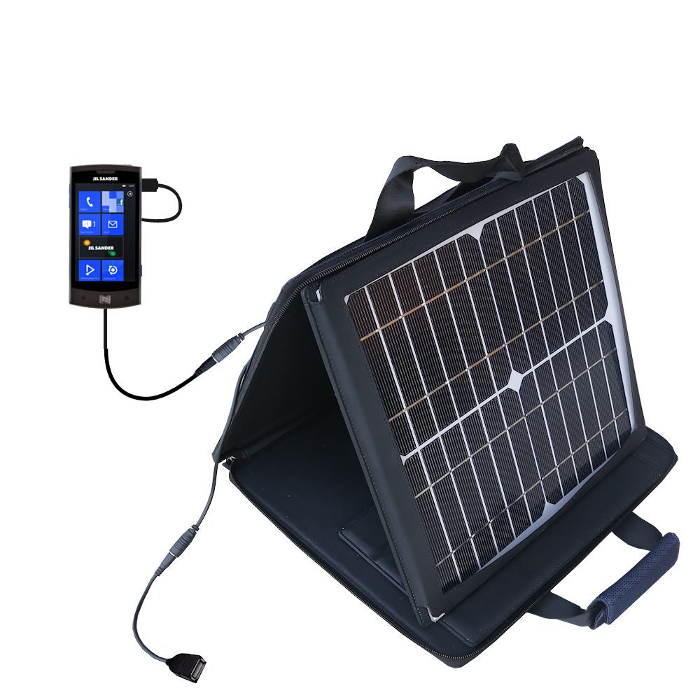 SunVolt Solar Charger compatible with the LG Jil Sander and one other device - charge from sun at wall outlet-like speed