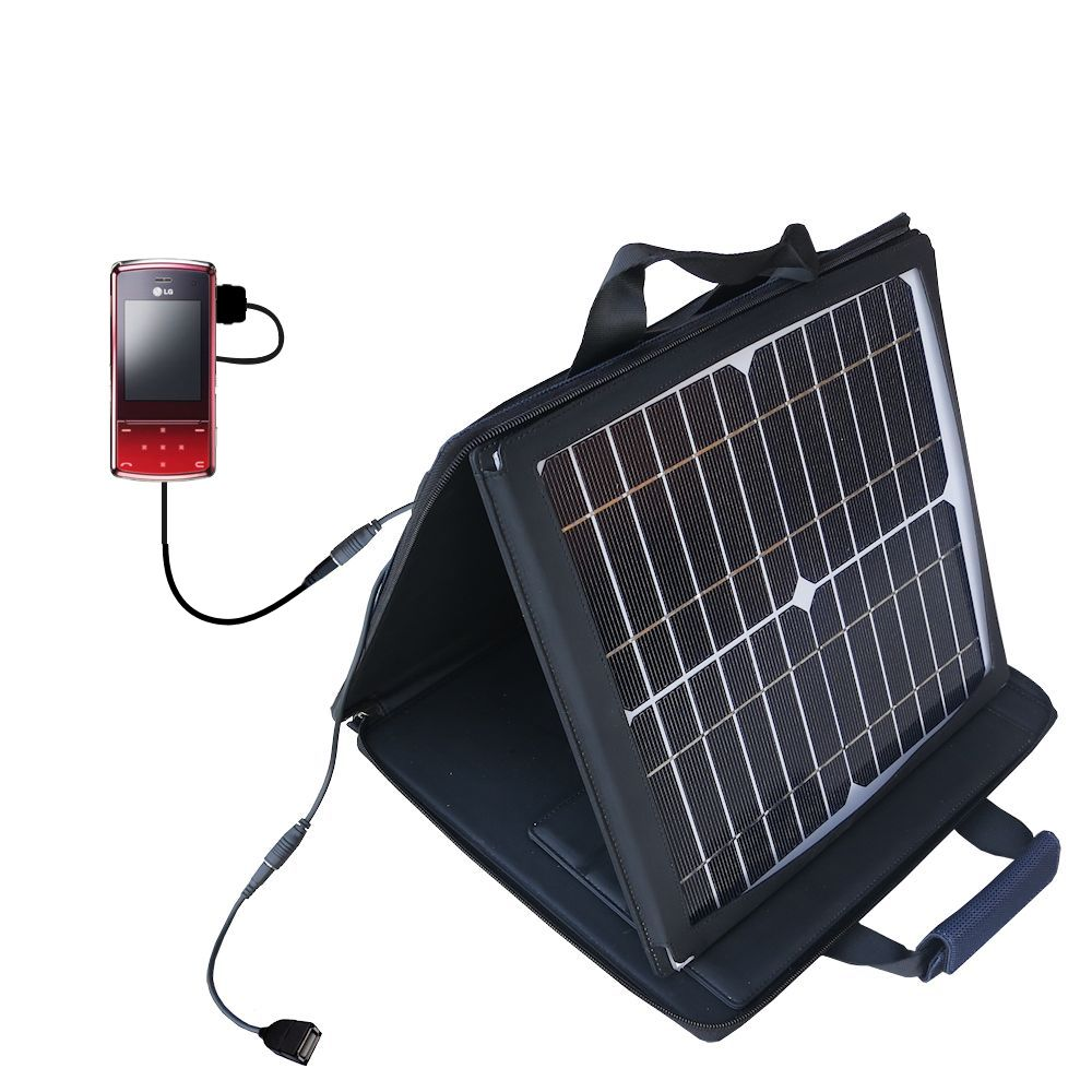 SunVolt Solar Charger compatible with the LG KF510 / KF-510 and one other device - charge from sun at wall outlet-like speed