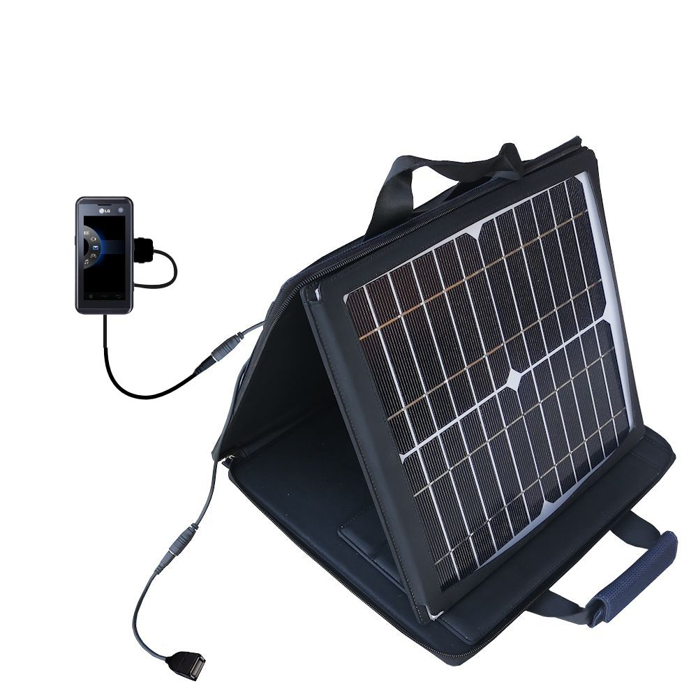 SunVolt Solar Charger compatible with the LG KF700 / FG-700 and one other device - charge from sun at wall outlet-like speed