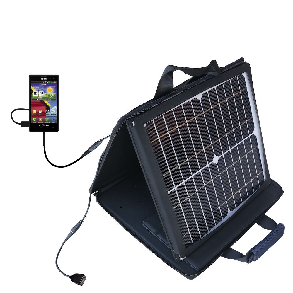 SunVolt Solar Charger compatible with the LG Lucid 1 / 2 / 3 and one other device - charge from sun at wall outlet-like speed
