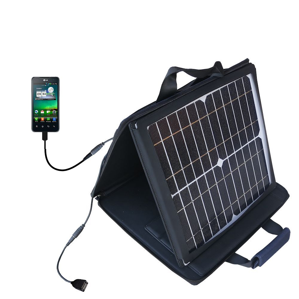 SunVolt Solar Charger compatible with the LG Optimus 2 and one other device - charge from sun at wall outlet-like speed