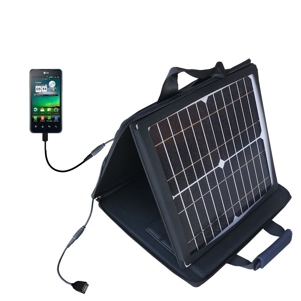 SunVolt Solar Charger compatible with the LG Optimus 2X and one other device - charge from sun at wall outlet-like speed