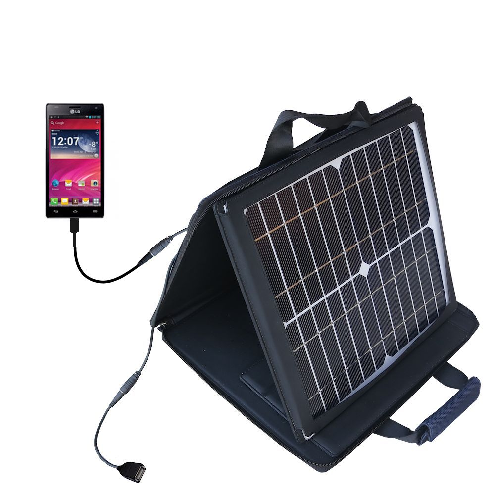 SunVolt Solar Charger compatible with the LG Optimus 4X HD and one other device - charge from sun at wall outlet-like speed