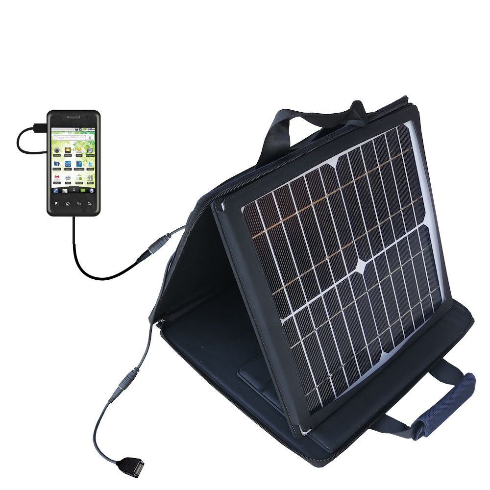 SunVolt Solar Charger compatible with the LG Optimus Chic and one other device - charge from sun at wall outlet-like speed