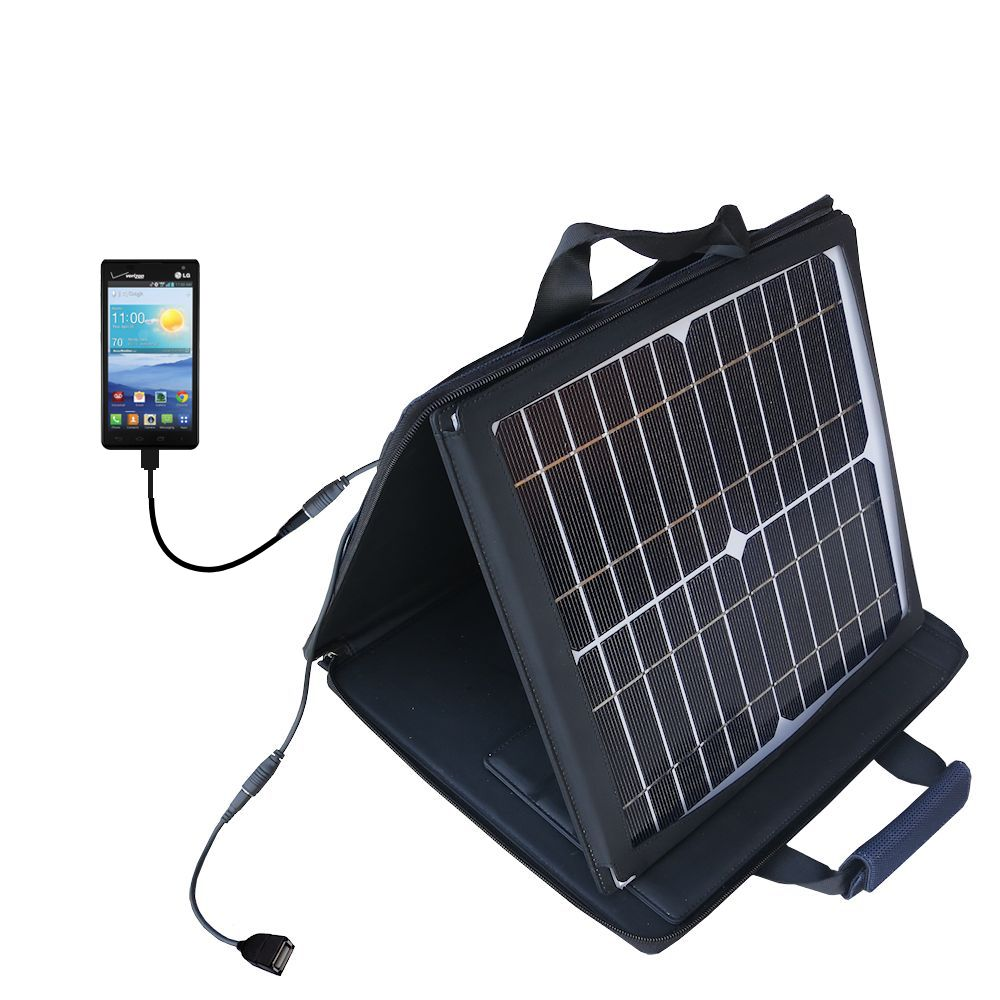 SunVolt Solar Charger compatible with the LG Optimus F3 and one other device - charge from sun at wall outlet-like speed