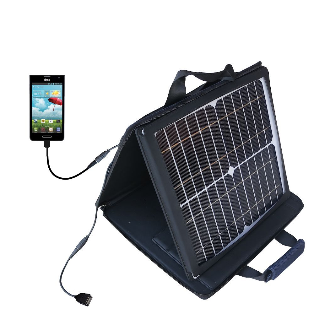 SunVolt Solar Charger compatible with the LG Optimus F6 and one other device - charge from sun at wall outlet-like speed