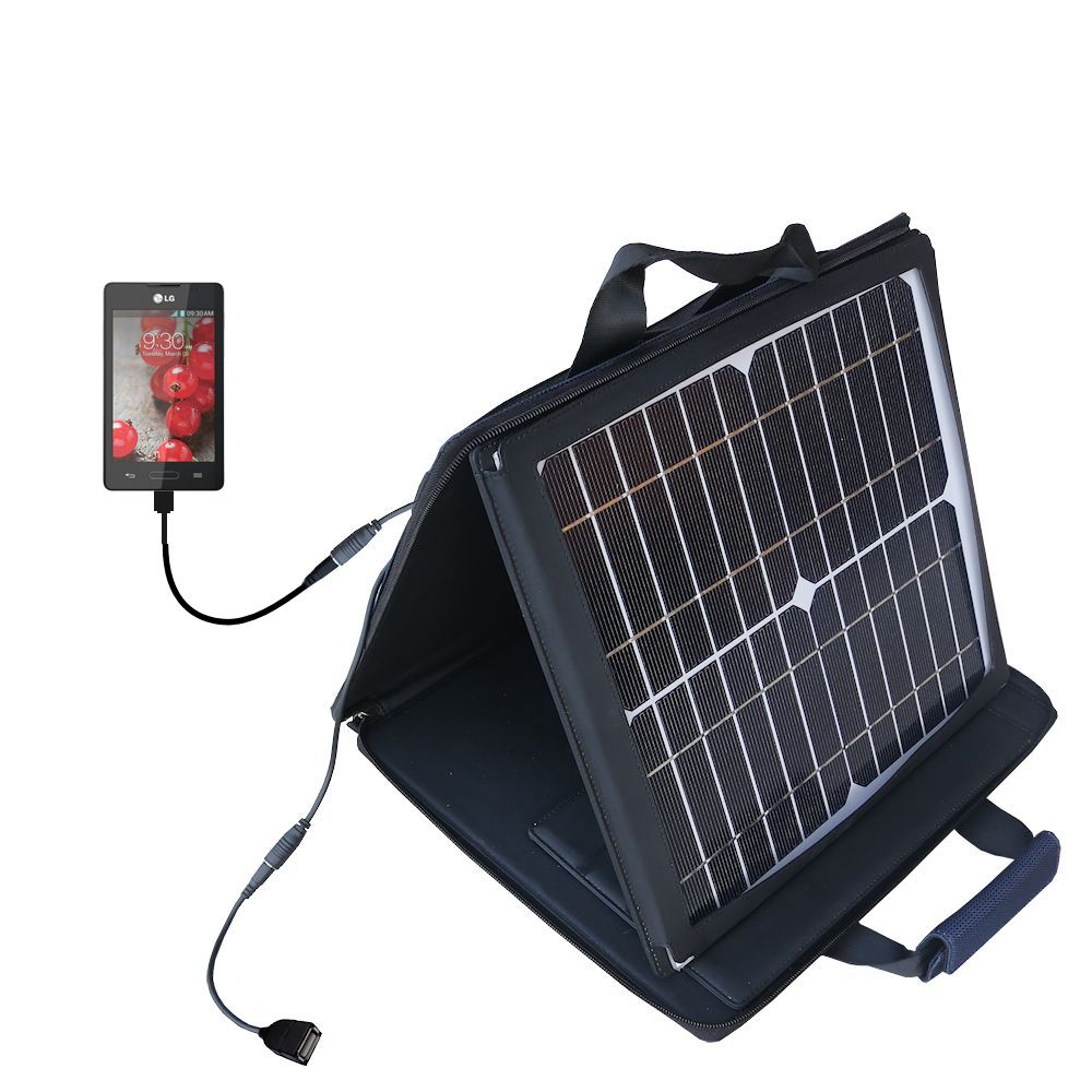 SunVolt Solar Charger compatible with the LG Optimus L4 II and one other device - charge from sun at wall outlet-like speed