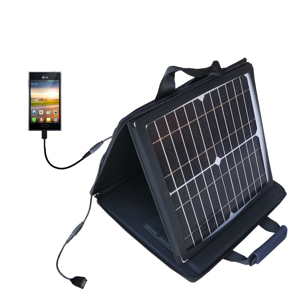 SunVolt Solar Charger compatible with the LG Optimus L5 and one other device - charge from sun at wall outlet-like speed