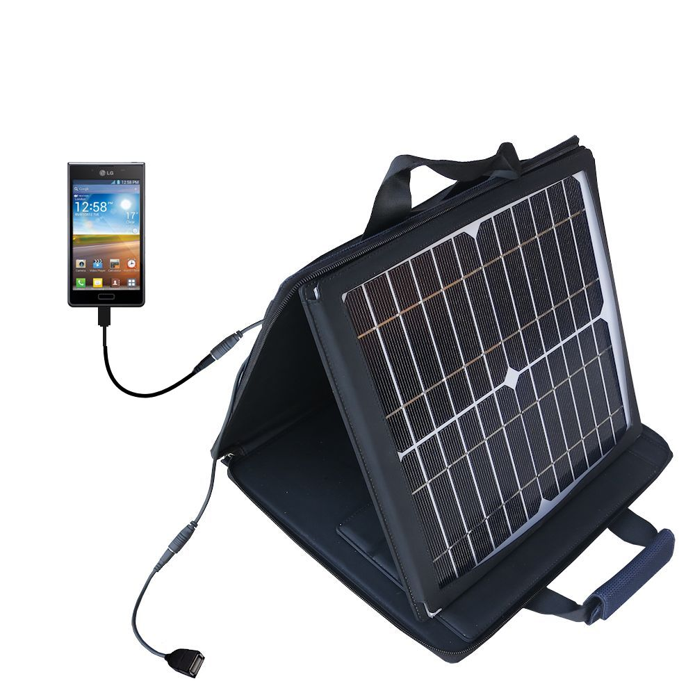 SunVolt Solar Charger compatible with the LG Optimus L7 and one other device - charge from sun at wall outlet-like speed