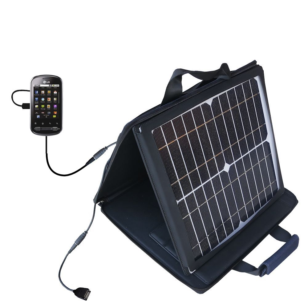 SunVolt Solar Charger compatible with the LG Optimus Me P350 and one other device - charge from sun at wall outlet-like speed