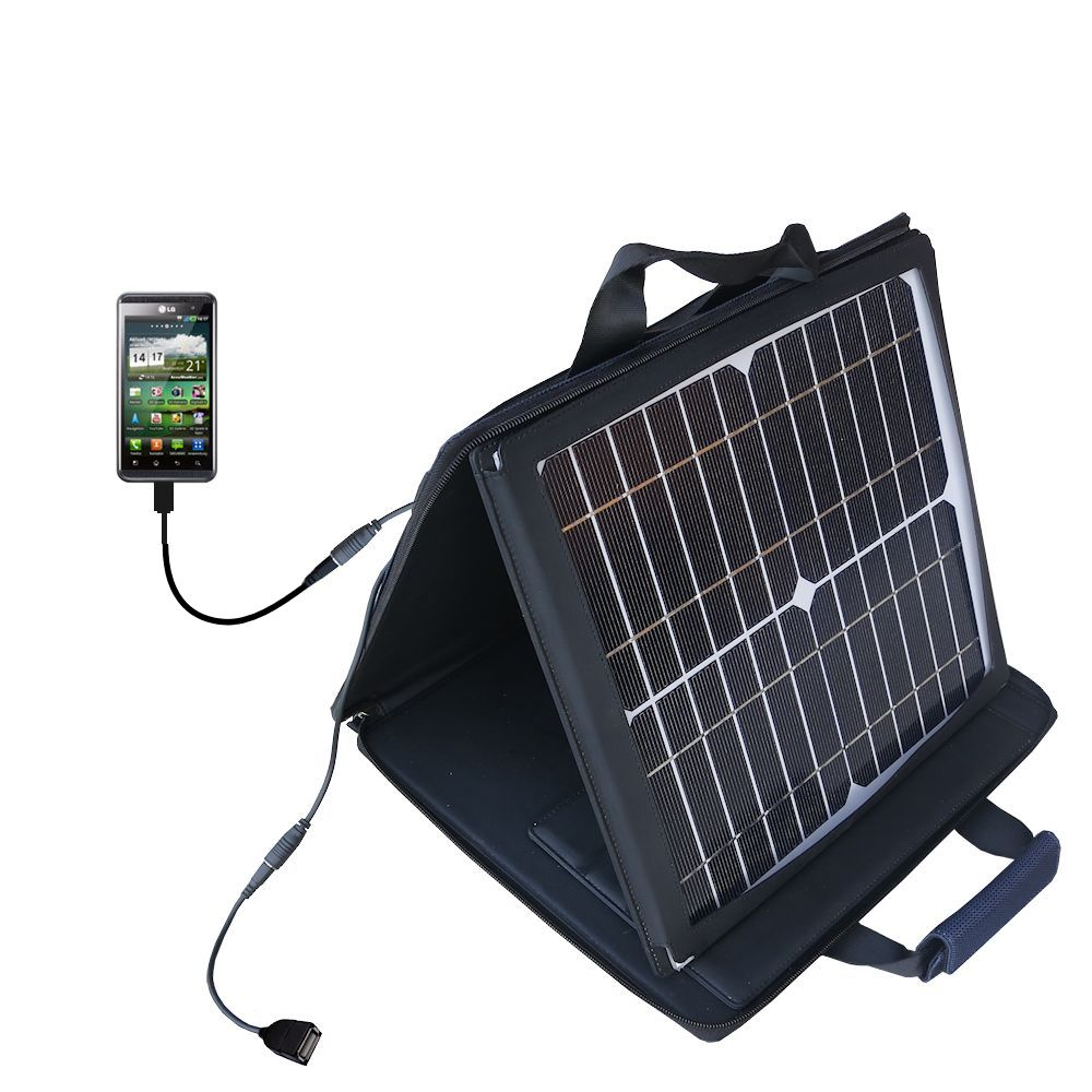 SunVolt Solar Charger compatible with the LG Optimus Two and one other device - charge from sun at wall outlet-like speed