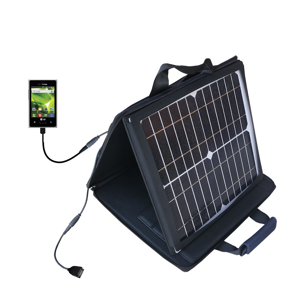 SunVolt Solar Charger compatible with the LG Optimus Zone 1 / 2 and one other device - charge from sun at wall outlet-like speed