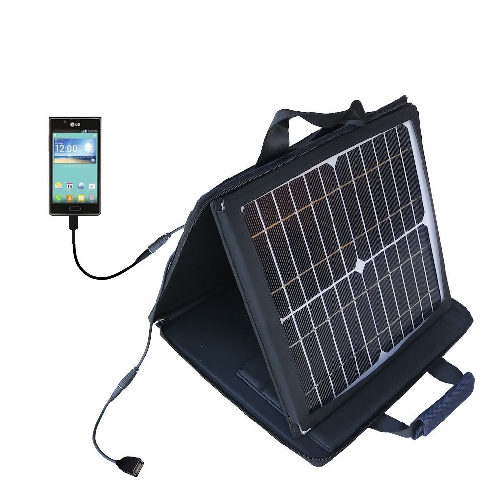 SunVolt Solar Charger compatible with the LG Splendor and one other device - charge from sun at wall outlet-like speed
