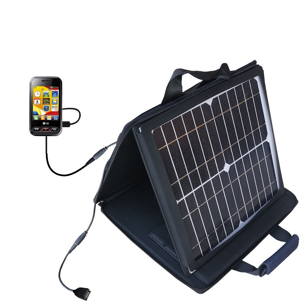 SunVolt Solar Charger compatible with the LG T320 and one other device - charge from sun at wall outlet-like speed